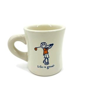Life is Good Ceramic Golfer Mug in Cream Color